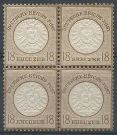 German Reich 1872 – Eagle with large breast plate – Michel 28 in block of 4