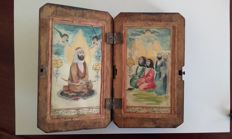 Qajar Lacquered / wooden mirror and comb case with hand painted water colour icons of Imam Ali and his sons, Hassan and Husayn - Persia - 19th century