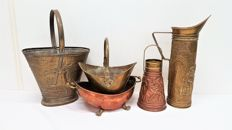 Five pieces copper jugs and jars, second half 20th century, Netherlands