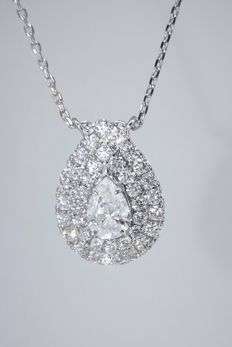 Pendant in a  pear shaped design decorated with 37 diamonds  -total 1.05 ct