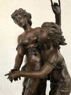 """L ' Espoir"" - large zamac statue of a young lady with girl - France - 1886"