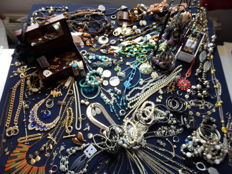 A massive lot of decorative jewelry from estate clearance almost 200 items.
