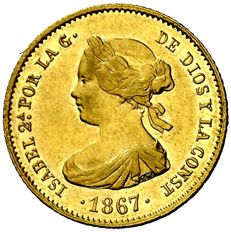 Spain – Isabel II (1833-1868), 4 escudos gold coin – 1867 – Madrid.