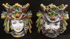 Pair of small ceramics from Caltagirone - Moor and Princess