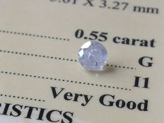 Diamond – 0.55 ct - G/I1 - VG/VG/VG ** No Reserve **