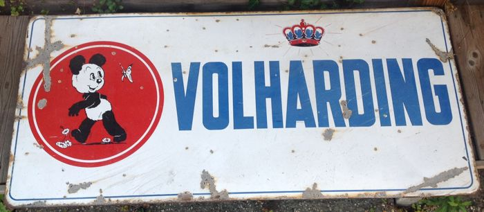 Enamel advertising sign - Volharding (of the Belgian Volharding grocery stores with Panda of Marten Toonder as logo.) - ca. 1950