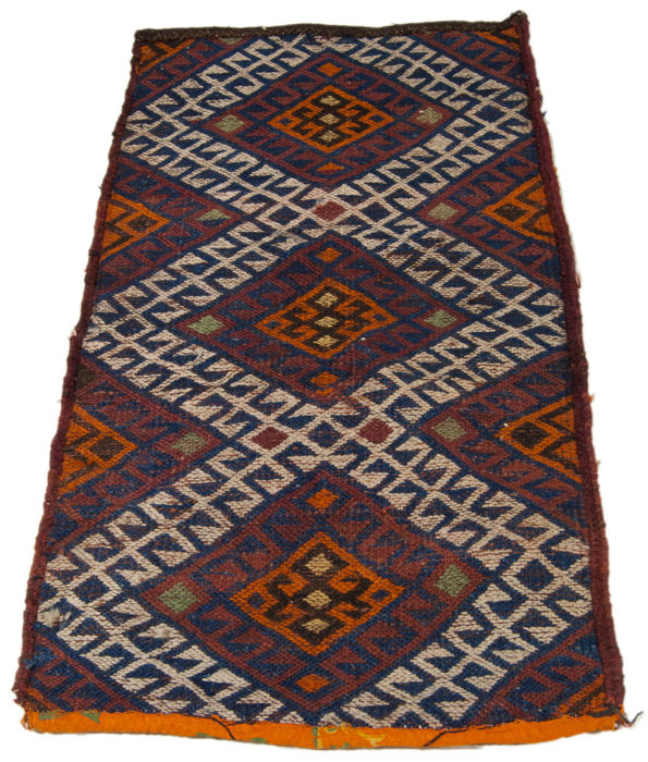 (Size: 69 x 40 cm) Exceptional antique, unique KILIM. Authentic, original collector's item with certificate of authenticity signed by an official appraiser (Galleria Farah 1970)