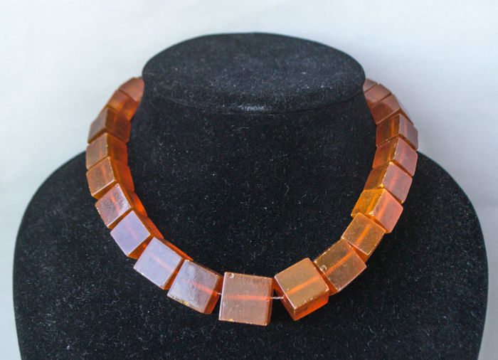 No reserve! Vintage Baltic Amber necklace 100% butterscotch, honey colour, 71 grams