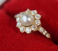 About 1900 Antique Ring with a sea / salty genuine pearl, surrounded by 10 natural brilliants and 6 brilliants on shoulders, 0,47Ct.  totaal.