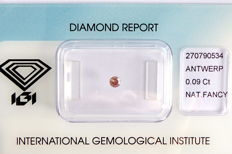 Natural Fancy Brownish Pink Diamond 0.09 ct  with IGI cert ***No minimum price***