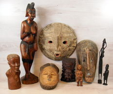 Collection African wood carvings