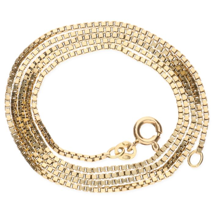 14 kt yellow gold Venetian link necklace –  Length 49,9 cm.