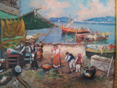 "Two painting of Ugo Mascolo ""piazza mercato"" and ""pescatori di Mergellina"""
