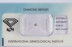Natural Fancy Brownish Pink Diamond 0.08 ct  with IGI cert ***No minimum price***