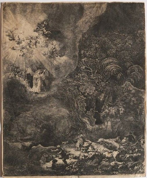 Rembrandt van Rijn (1606-1669 ) - L' annonciation faite aux bergers - 1634 - Likely a print form the 18th or 19th century