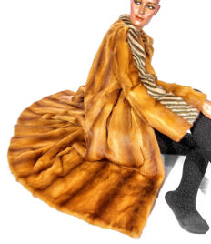 Rare vintage fur coat, weasel and mink, patterned with white hem gold-brown