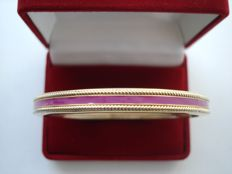 Vintage 1970s - Art Deco revival - Yellow Gold plated & Mauve enameled Bangle Bracelet