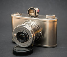 Tahbes Synchro Camera with Albada viewfinder and leather bag.