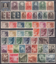 Austria 1908/1935 - Series set - Yvert no.: 117, 374/377, 393/398, 399/404, aerial 12/31, 32/46.