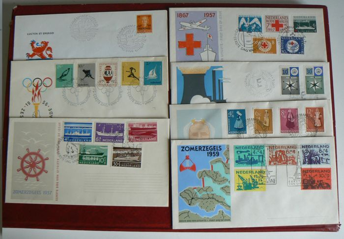 The Netherlands 1953/1958 - Selection of seven FDCs between NVPH E12 and E38