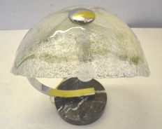 Unknown designer - table lamp in steel, marble and glass