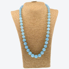18k yellow gold necklace with aquamarines - Length, 83 cm.