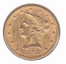United States – 10 dollars, 1893, 'Liberty Head Eagle' – gold