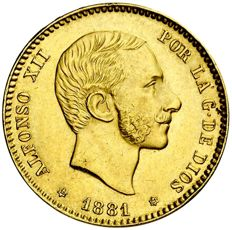Spain – Alfonso XII – 25 pesetas gold coin – 1881 – Madrid MSM