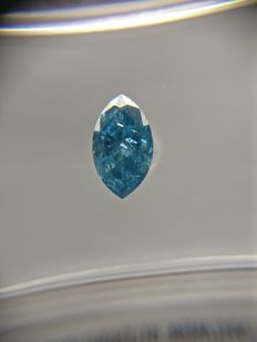 0.43 ct Marquise cut diamond Fancy Vivid Blue I1