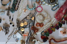 54 pieces of costume jewellery. 1980s/90s/2000s, various materials, various backgrounds