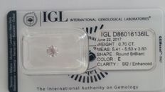 0.70ct ROUND BRILLIANT  CUT  IGL E SI2 Diamond -NO RESERVE