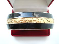 Vintage 1960s - Art Deco revival - Yellow Gold plated & Black enameled Bangle Bracelet