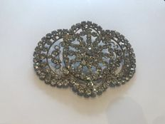Massive Art Deco crystal set brooch
