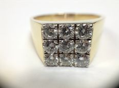 Men's vintage ring, 18k gold with 1.35 ct. diamond pavé set Italy 1950 - 1970