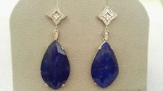 Earrings - 18 kt white gold – Diamonds of 0.42 ct and lapis lazuli