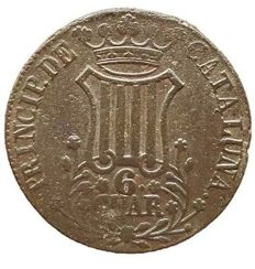 Spain - Isabel II, 6 Catalonian Cuartos - 32 mm / 13.7 g