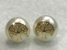 Tree of Life earrings in 18kt/750 gold with cultured pearl