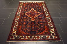 Old high-quality -Persian carpet- -Hamadan- -made in Iran- -plant dyes- -125X210 cm-