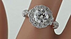 1.22 ct D/VS1 round diamond ring in 14 kt white gold - size 7