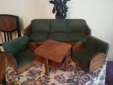 4-Piece Art Deco miniature toy furniture - 3-seater sofa, two chairs and table