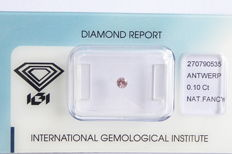 Natural Fancy Pink Diamond 0.10 ct  with IGI cert ***No minimum price***
