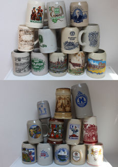 24 Beer steins, various Countries, various sizes - 2nd half of 20th century