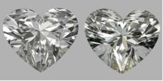 Heart Brilliant Pair 2.07 TW -1.04-1.03 each Diamond With GIA CERT and laser inscription
