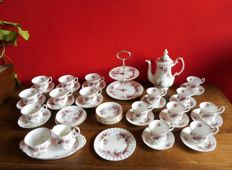 47-Piece Royal Albert, bone china, with Lavender Rose decor.