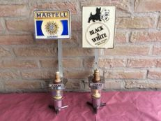 Vintage bottle holder /Martell Cognac and Black & WHITE Scotch Whisky. 1970s