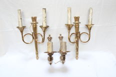 Two pairs of brass wall appliques, Belgian, 20th century