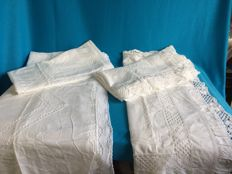 4 large pillowcases with a lot of lace, mid-20th century