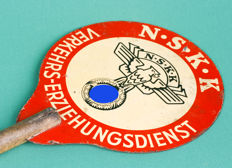 "Metal traffic control board of the ""N.S.K. K"" (Nationalsozialistisches Kraftfahrkorps)"
