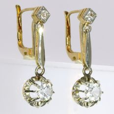 Bicolor gold short hanging earrings - anno 1950