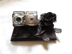 Old inkwell craft of wrought iron and glass